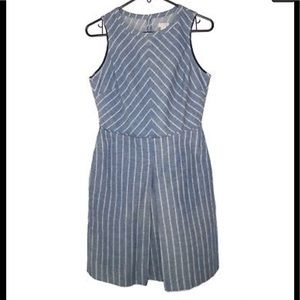 J Crew Chambray Chevron Cut Out Back Dress sz 4